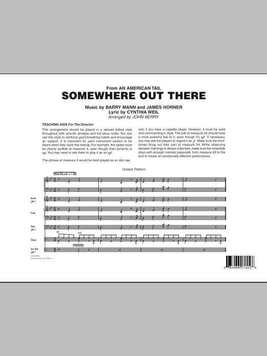 Somewhere Out There (COMPLETE) sheet music for jazz band by John Berry, Barry Mann, Cynthia Weil and James Horner. Score Image Preview.