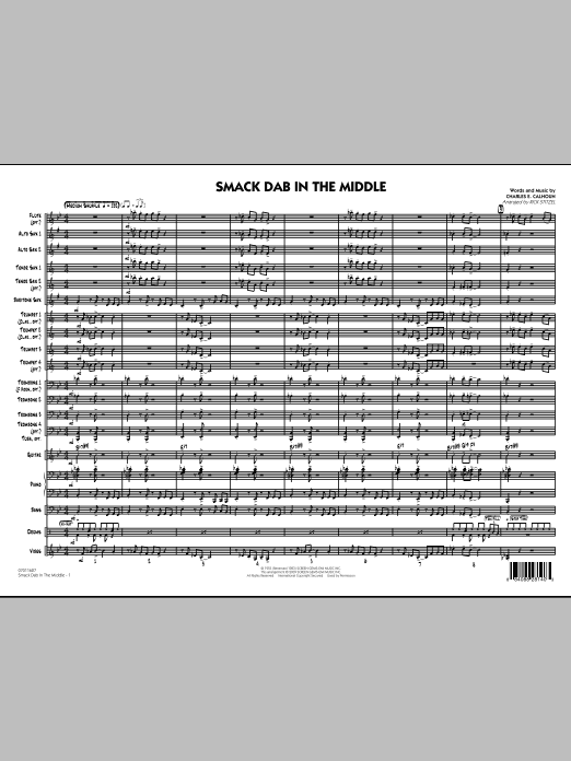 Smack Dab In The Middle (COMPLETE) sheet music for jazz band by Rick Stitzel and Charles Calhoun. Score Image Preview.