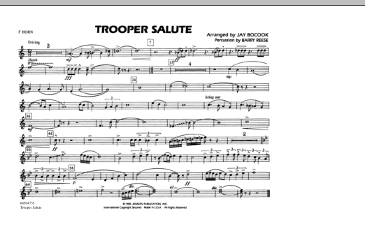 Trooper Salute - F Horn (Marching Band)