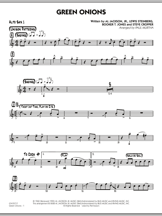 Green Onions - Alto Sax 1 (Jazz Ensemble)