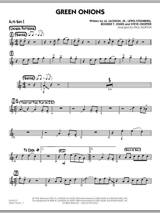 Green Onions - Alto Sax 2 (Jazz Ensemble)