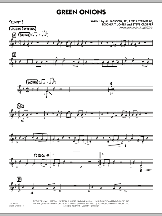 Green Onions - Trumpet 2 (Jazz Ensemble)