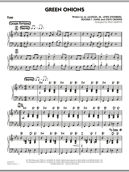 Green Onions - Piano (Jazz Ensemble)