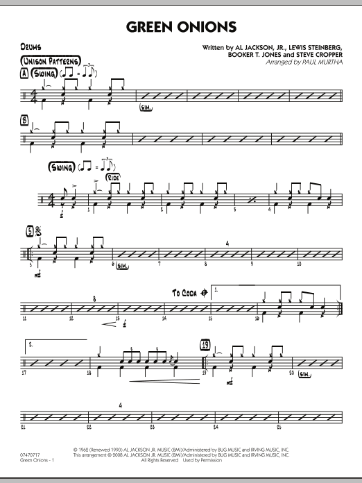 Green Onions - Drums (Jazz Ensemble)