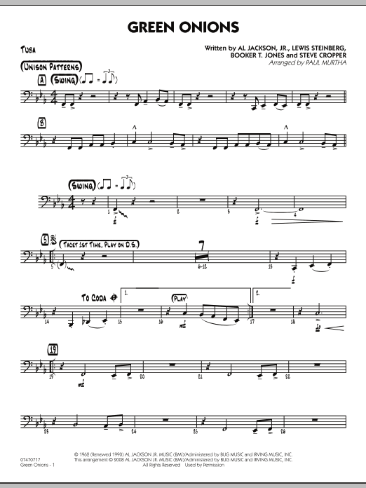 Green Onions - Tuba (Jazz Ensemble)