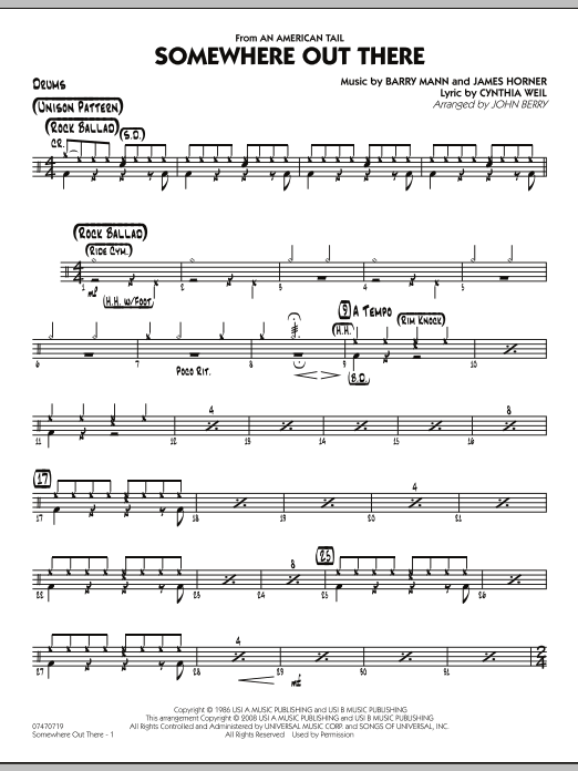 Somewhere Out There - Drums Sheet Music