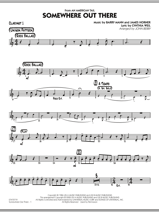 Somewhere Out There - Bb Clarinet 1 (Jazz Ensemble)