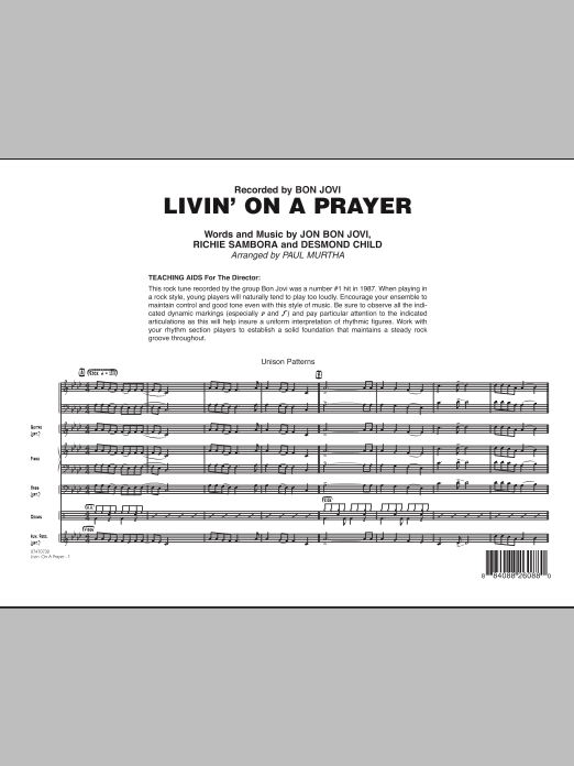 Livin' On A Prayer (COMPLETE) sheet music for jazz band by Paul Murtha, Bon Jovi, Desmond Child and Richie Sambora. Score Image Preview.