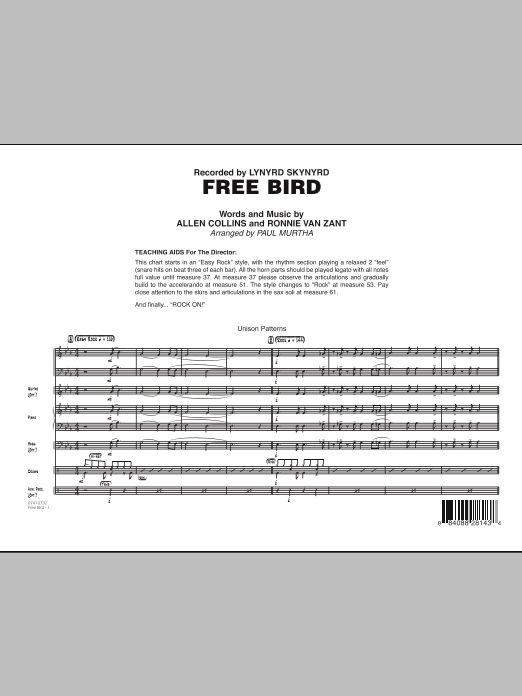 Free Bird (COMPLETE) sheet music for jazz band by Paul Murtha, Allen Collins, Lynyrd Skynyrd and Ronnie Van Zant. Score Image Preview.