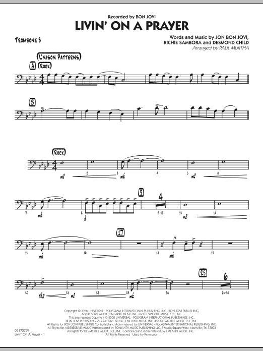 Livin' On A Prayer - Trombone 3 (Jazz Ensemble)