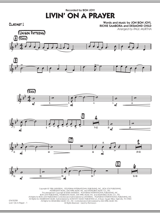 Livin' On A Prayer - Bb Clarinet 1 (Jazz Ensemble)