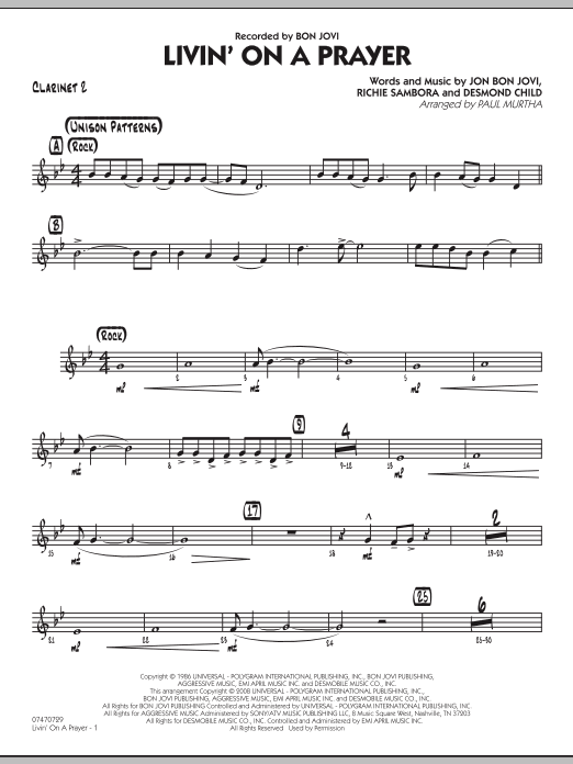 Livin' On A Prayer - Bb Clarinet 2 (Jazz Ensemble)