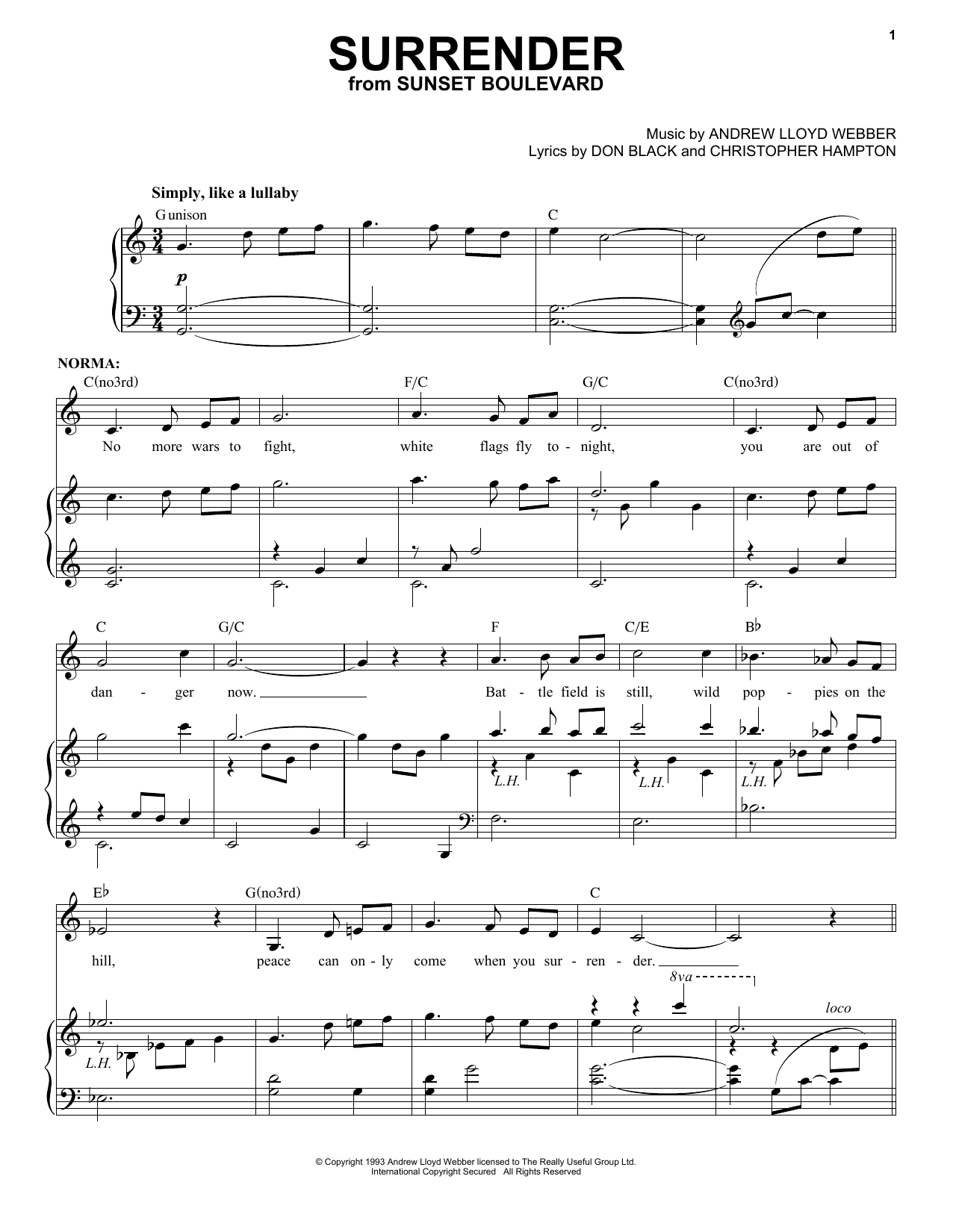 Surrender Sheet Music