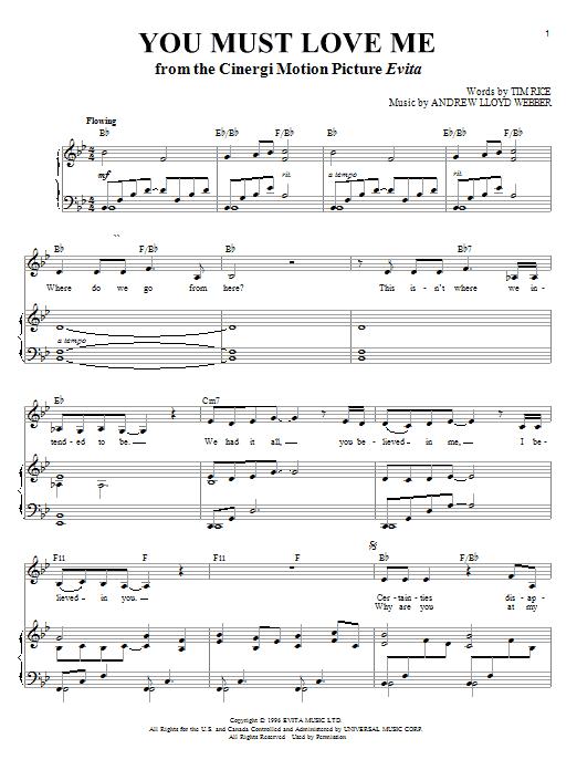 Partition piano You Must Love Me de Madonna - Piano Voix