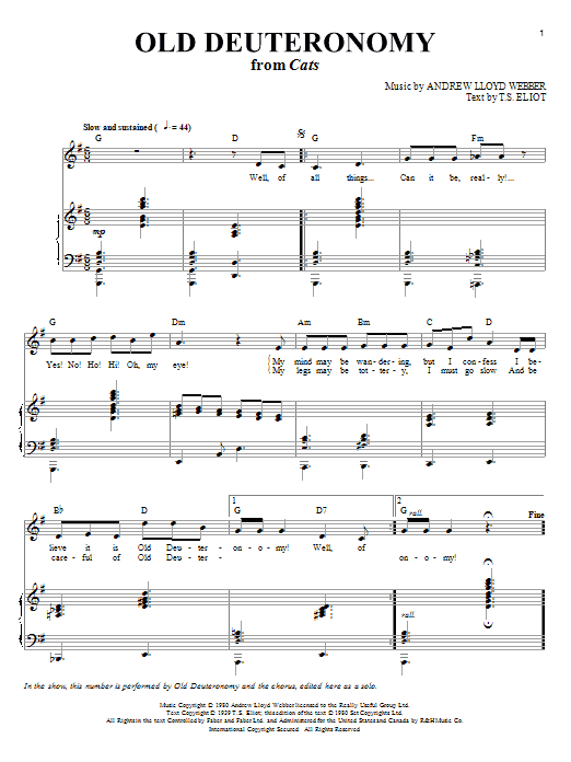 Old Deuteronomy (from Cats) (Piano & Vocal)