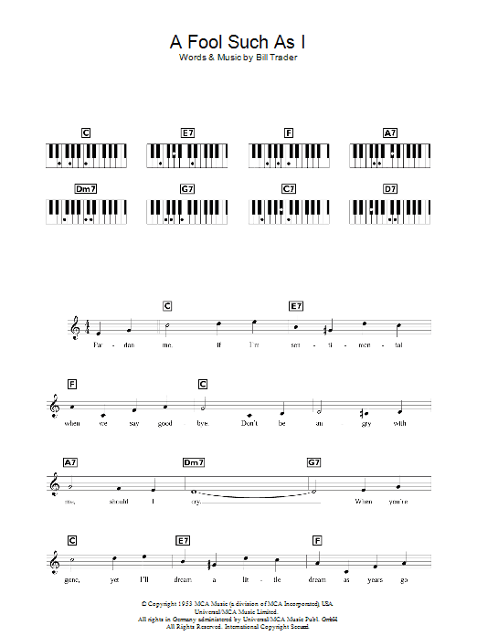 (Now And Then There's) A Fool Such As I Sheet Music