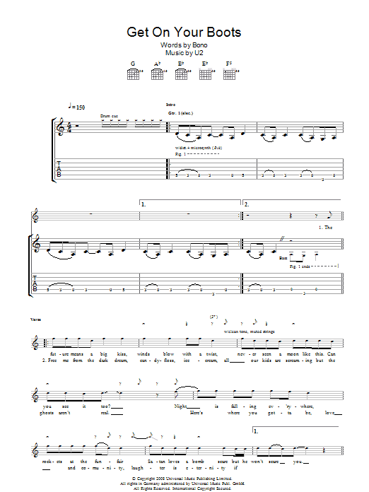 Get On Your Boots (Guitar Tab)