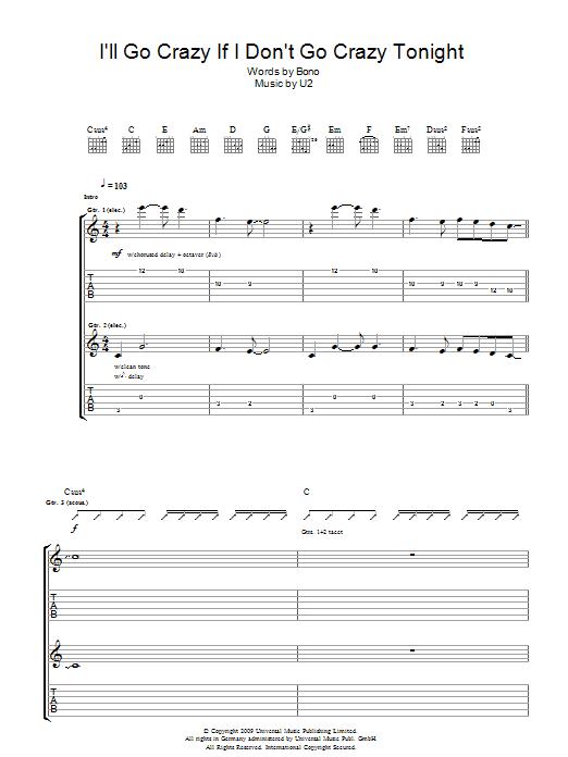 I'll Go Crazy If I Don't Go Crazy Tonight (Guitar Tab)