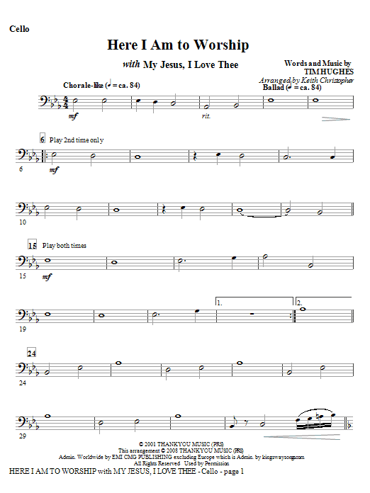 Here I Am To Worship with My Jesus, I Love Thee - Cello (Choir Instrumental Pak)