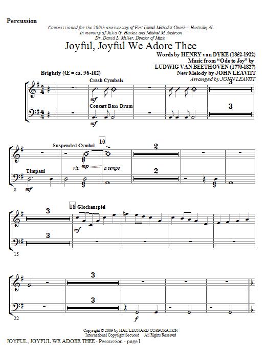 Joyful, Joyful, We Adore Thee - Percussion by John Leavitt Choir  Instrumental Pak Digital Sheet Music