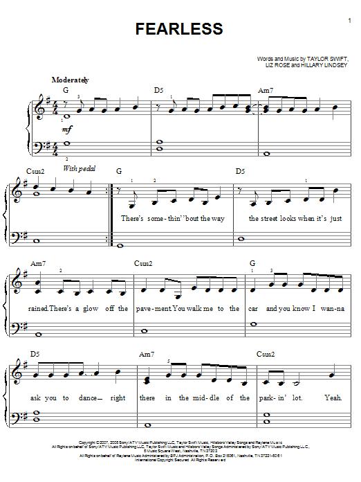 Partition piano Fearless de Taylor Swift - Piano Facile
