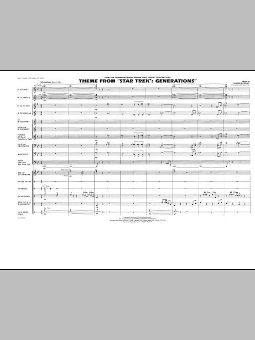 Theme from Star Trek: Generations (COMPLETE) sheet music for marching band by Jay Bocook and Dennis McCarthy. Score Image Preview.