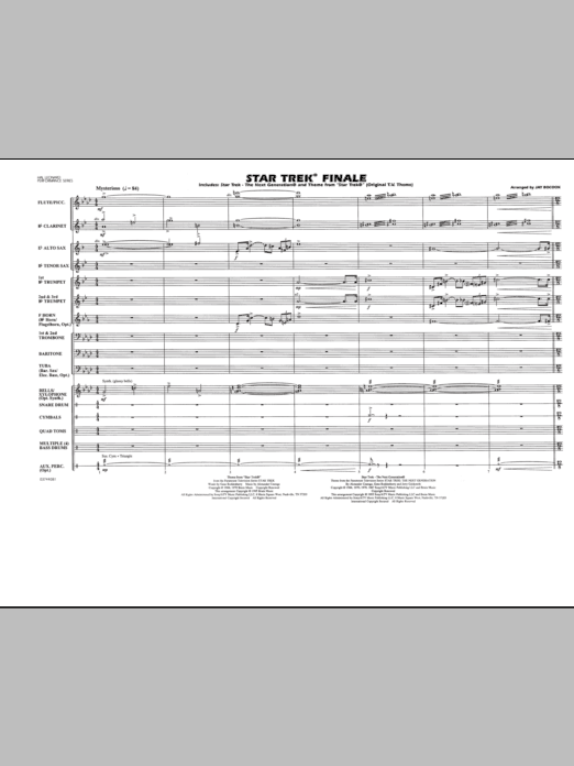 Star Trek Finale (COMPLETE) sheet music for marching band by Jay Bocook. Score Image Preview.
