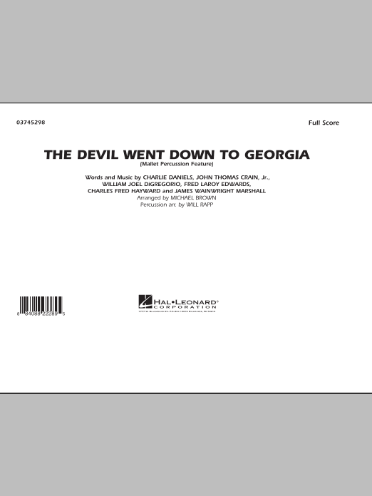 The Devil Went Down to Georgia (COMPLETE) sheet music for marching band by Michael Brown, Charlie Daniels Band and Will Rapp. Score Image Preview.
