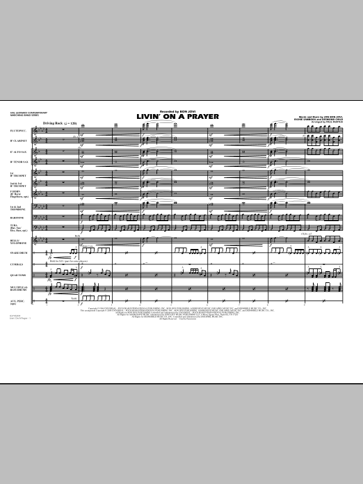 Livin' on a Prayer (COMPLETE) sheet music for marching band by Paul Murtha, Bon Jovi, Desmond Child and Richie Sambora. Score Image Preview.