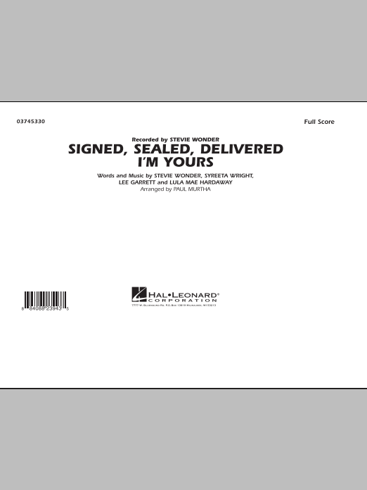 Signed, Sealed, Delivered I'm Yours - Full Score (Marching Band)