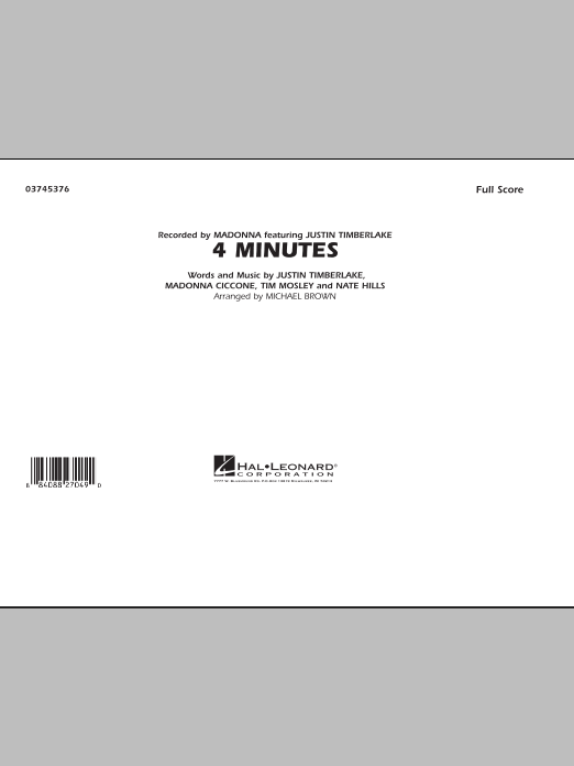 4 Minutes (COMPLETE) sheet music for marching band by Michael Brown and Madonna. Score Image Preview.