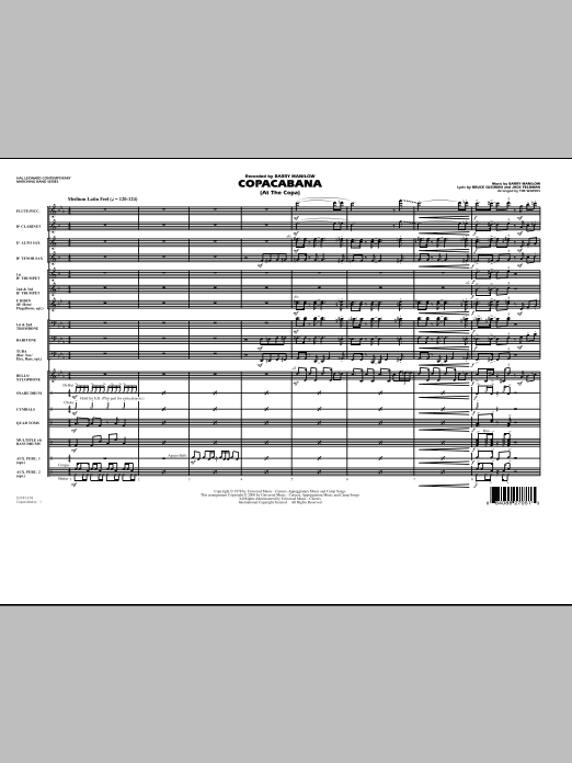 Copacabana (At the Copa) (COMPLETE) sheet music for marching band by Tim Waters, Barry Manilow, Bruce Sussman and Jack Feldman. Score Image Preview.