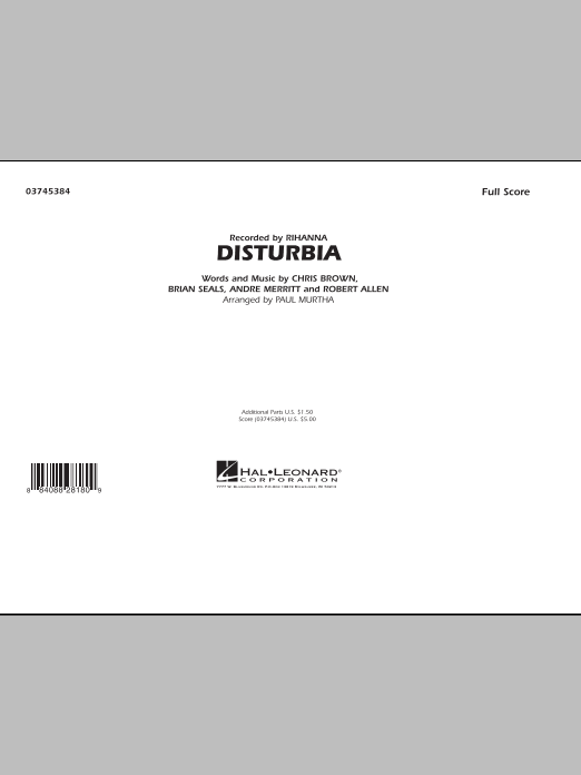Disturbia (COMPLETE) sheet music for marching band by Paul Murtha and Rihanna. Score Image Preview.