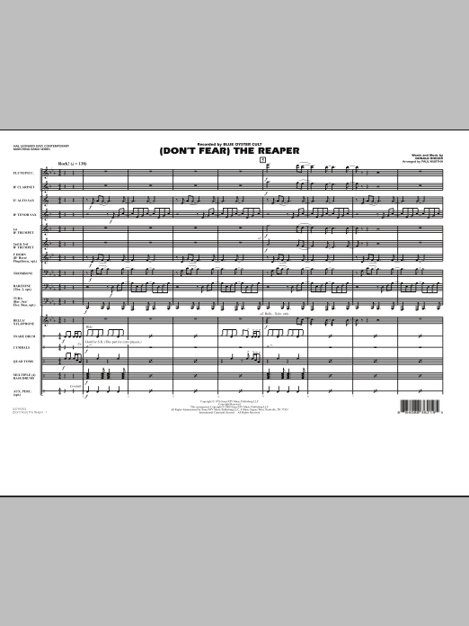 (Don't Fear) The Reaper (COMPLETE) sheet music for marching band by Paul Murtha, Blue Oyster Cult and Donald Roeser. Score Image Preview.