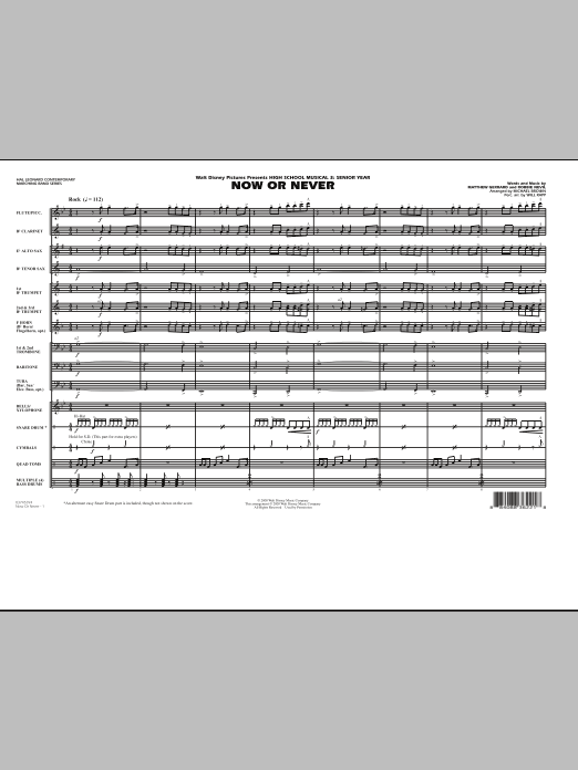"Now or Never (from ""High School Musical 3"") - Full Score (Marching Band)"