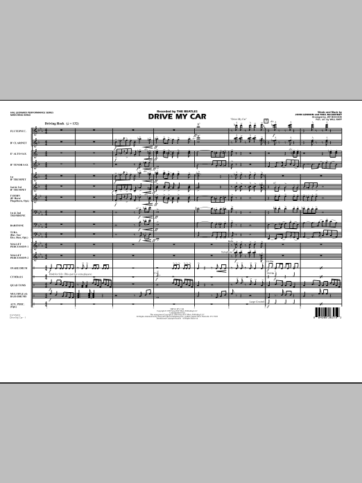 Drive My Car (COMPLETE) sheet music for marching band by Jay Bocook, John Lennon, Paul McCartney, The Beatles and Will Rapp. Score Image Preview.