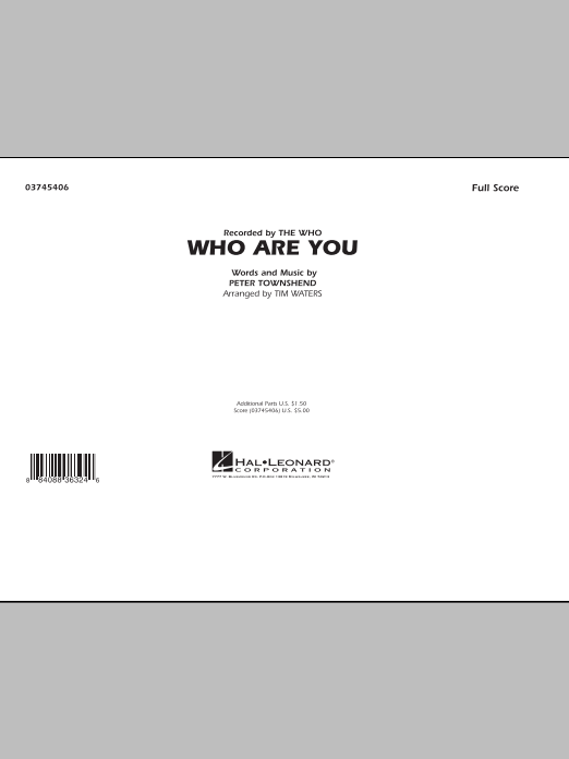 Who Are You (COMPLETE) sheet music for marching band by Tim Waters, Pete Townshend and The Who. Score Image Preview.