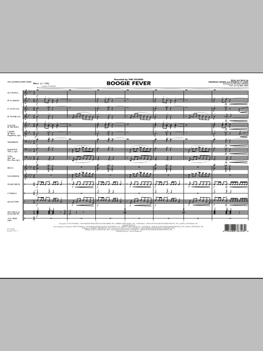 Boogie Fever (COMPLETE) sheet music for marching band by Michael Brown and Will Rapp. Score Image Preview.