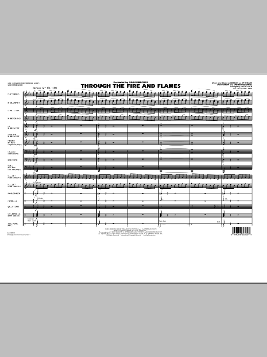 Through the Fire and Flames (COMPLETE) sheet music for marching band by Jay Bocook, Dragonforce and Will Rapp. Score Image Preview.