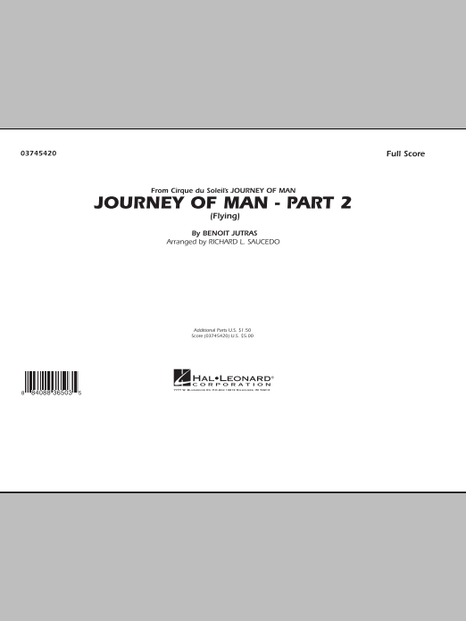 Journey of Man - Part 2 (Flying) (COMPLETE) sheet music for marching band by Benoit Jutras and Richard L. Saucedo. Score Image Preview.