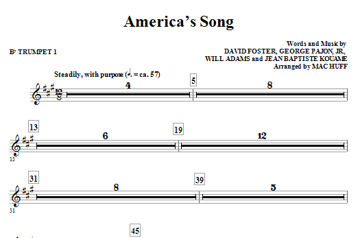 America's Song (complete set of parts) sheet music for orchestra/band (chamber ensemble) by Mac Huff, David Foster, Will Adams and Will.i.am. Score Image Preview.