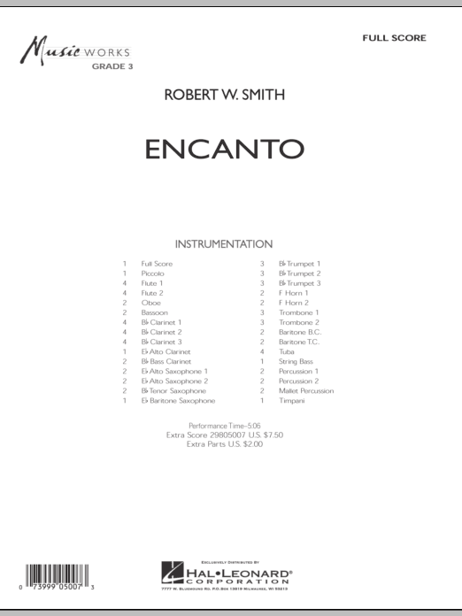 Encanto (COMPLETE) sheet music for concert band by Robert W. Smith. Score Image Preview.