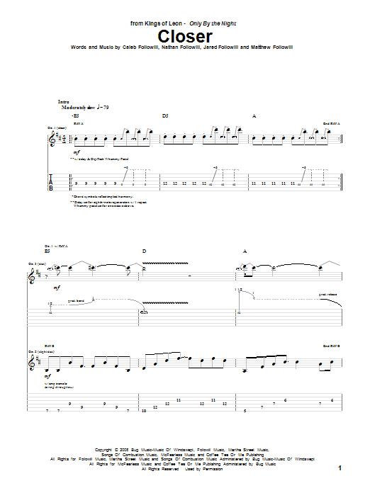 Tablature guitare Closer de Kings Of Leon - Tablature Guitare