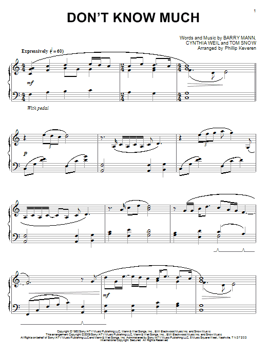 Don't Know Much Sheet Music