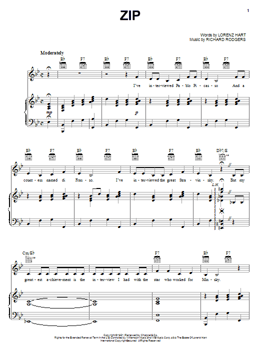 Zip (Piano, Vocal & Guitar (Right-Hand Melody))