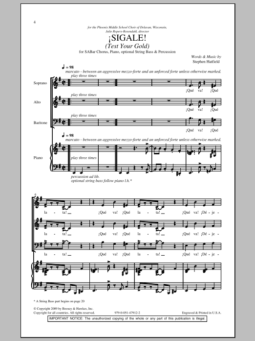 Sigale (Test Your Gold) Sheet Music
