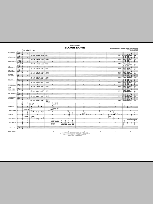 Boogie Down (COMPLETE) sheet music for marching band by Al Jarreau, Paul Lavender and Will Rapp. Score Image Preview.