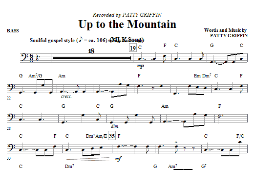 Up To The Mountain (MLK Song) - Bass Sheet Music