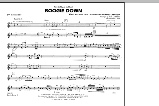 Boogie Down - 2nd Bb Trumpet (Marching Band)