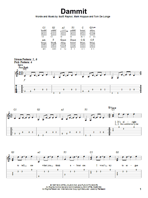 Dammit | Sheet Music Direct